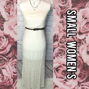 Forever 21 strapless white maxi lace sheer dress